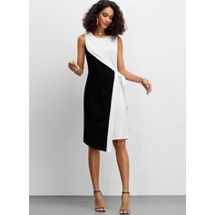 Color-block Sleeveless Sheath Knee Length Party Dresses