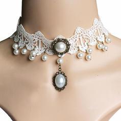 Maravilloso La perla de faux Encaje con Perlas de imitación Señoras' Collar de la manera
