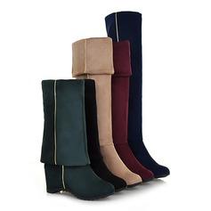 Women's Suede Low Heel Over The Knee Boots With Zipper shoes