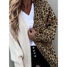 Blocchi di colore Tasche leopardo Casual Lungo Cardigan
