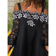 Embroidery Lace Cold Shoulder Flare Sleeve Long Sleeves Casual Blouses