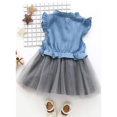 Girls Stand-up Collar Buttons Casual Cute Dress