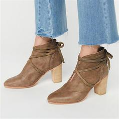 Dla kobiet PU Obcas Slupek Botki Z Sznurowanie obuwie