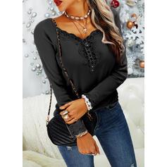 Einfarbig Spitze Stricken V-Ausschnitt Lange Ärmel Lässige Kleidung Blusen