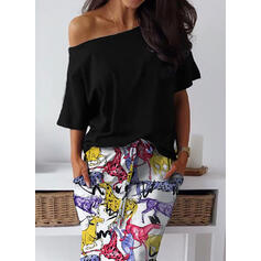 Print 1/2 Sleeves Sheath Casual Maxi Dresses