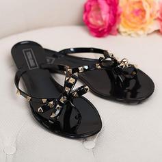 Women's PVC Flat Heel Sandals Peep Toe Slippers With Rivet shoes