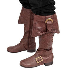 Women's Leatherette Chunky Heel Flats Boots Knee High Boots With Buckle shoes