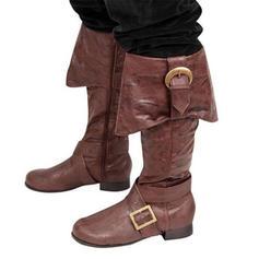 Frauen Kunstleder Stämmiger Absatz Flache Schuhe Stiefel Kniehocher Stiefel mit Schnalle Schuhe