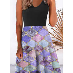 Print Sleeveless A-line Slip/Skater Casual Midi Dresses