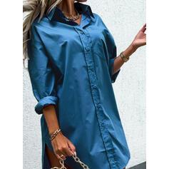 Jednolity Długie rękawy Suknie shift Nad kolana Nieformalny Koszula Sukienki