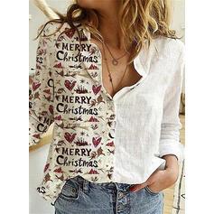 Nadruk Serce Klapa Długie rękawy Zapięcie na guzik Casual Boże Narodzenie Bluski koszulowe