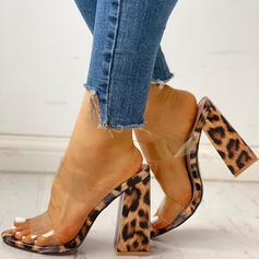 Femmes PVC Talon bottier Sandales À bout ouvert Chaussons avec La copie Animale chaussures