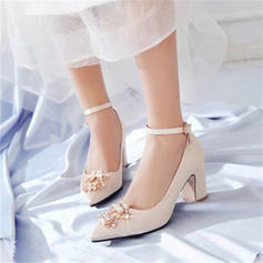 Women's Satin Chunky Heel Pumps With Imitation Pearl shoes