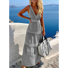 Solid Sleeveless A-line Slip Casual/Vacation Maxi Dresses
