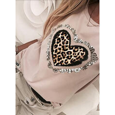 Leopard Sequins Round Neck Long Sleeves T-shirts