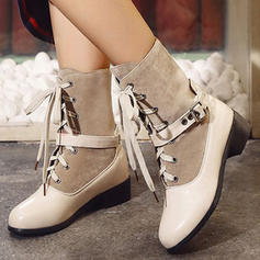 Women's PU Chunky Heel Mid-Calf Boots Martin Boots With Buckle Lace-up shoes