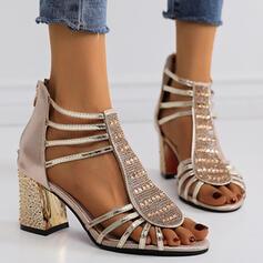 Women's PU Chunky Heel Sandals Pumps With Rhinestone Sequin Zipper shoes