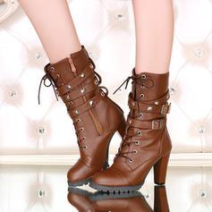 Vrouwen Kunstleer Chunky Heel Pumps Laarzen met Gesp Rits schoenen