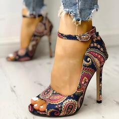 Γυναίκες PU Ψηλό τακούνι Γοβάκια Ανοιχτά σανδάλια toe Με Πόρπη Crystal Heel παπούτσια