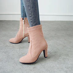 Women's Suede Stiletto Heel Pumps Closed Toe Boots Mid-Calf Boots With Zipper shoes