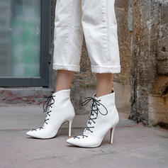Women's PU Stiletto Heel Ankle Boots With Lace-up shoes