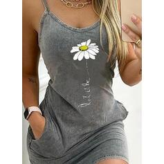 Impresión/Floral/Carta Sin mangas Ajustado Sobre la Rodilla Casual Camisón Vestidos