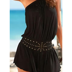 Solid/Beaded Sleeveless A-line Above Knee Little Black/Vacation Dresses