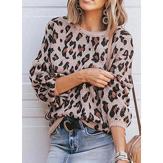 Animal Print Round Neck Sweaters
