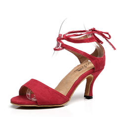 Women's Latin Heels Suede With Ankle Strap Lace-up Latin