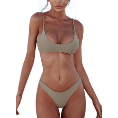 Tinta unita Vita Bassa Cinghia Scollatura a U Sexy Bikinis Costumi Da Bagno