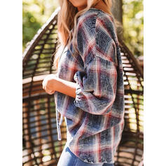 Plaid V-Neck 3/4 Sleeves Casual Blouses