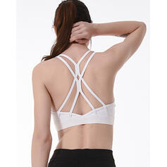 Spaghetti Straps Sleeveless Solid Color Cross Sports Bras