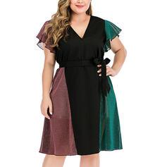 Color Block Short Sleeves A-line Casual/Plus Size Midi Dresses