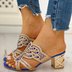 Women's PU Chunky Heel Sandals Peep Toe Slippers With Rhinestone Hollow-out shoes