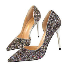 Women's Sparkling Glitter Stiletto Heel Sandals Pumps Closed Toe shoes