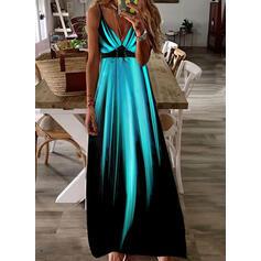 Druck/Gradient Ärmellos A-Linien-Kleid Slips/Skater Lässige Kleidung/Urlaub Maxi Kleider