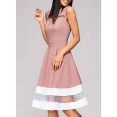 Striped Round Neck Knee Length A-line Dress