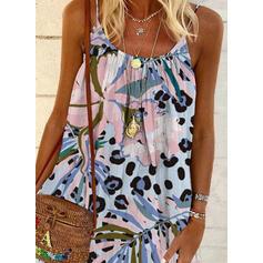 Print Sleeveless Shift Above Knee Casual/Vacation Slip Dresses