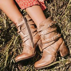 Femmes PU Talon bottier Escarpins Bout fermé Bottes Bottes mi-mollets avec Boucle Zip chaussures