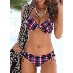Kariert Spinta verso l'alto A bikini Sexy Stile vintage Bikinis Costumi Da Bagno