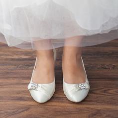 Women's Satin Kitten Heel Closed Toe Pumps With Rhinestone