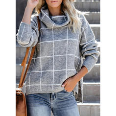 Grid Chunky knit Turtleneck Sweaters