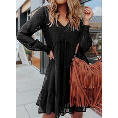 Solide Lange Mouwen Shift Boven de knie Zwart jurkje/Casual Tunieken Jurken