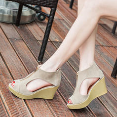 Women's Suede Wedge Heel Sandals With Zipper shoes