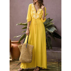 Print 3/4 Sleeves A-line Maxi Casual Dresses