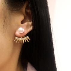 De moda Aleación Diamantes de imitación La perla de faux De mujer Pendientes