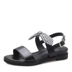 Femmes Vrai cuir Talon compensé Sandales Chaussures plates À bout ouvert Escarpins avec Bowknot Boucle chaussures