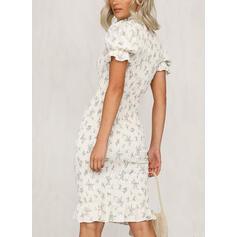 Print Short Sleeves/Puff Sleeves Bodycon Knee Length Elegant Pencil Dresses
