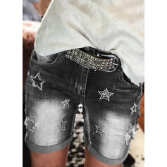 Impresión Talla extra Sexy Clásico Pantalones cortos Vaqueros