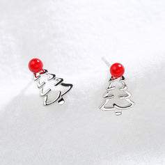 Christmas Tree Silver Earrings Christmas Jewelry